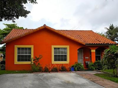 บ้านชั้นเดียวสีส้ม