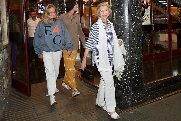 Queen Sofia, Victoria Federica, Irene Urdangarin, Crown Princess Leonor Infanta Sofia, Queen Letizia on holiday