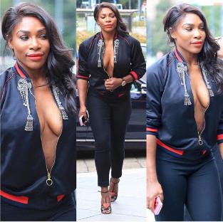 Serena Williams attends Milan Fashion Week braless