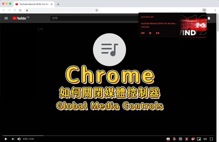《Chrome》-關閉媒體控制器Global Media Controls