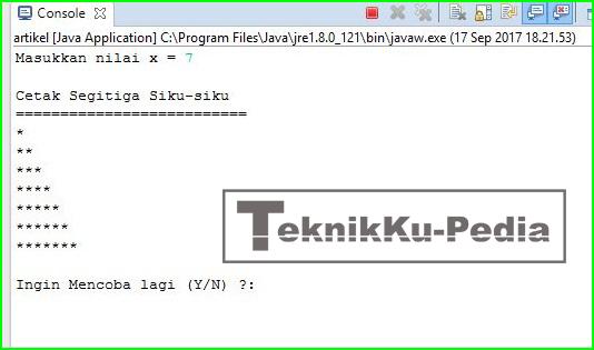 Program Java - Membuat Segitiga Siku-Siku Menggunakan Bintang