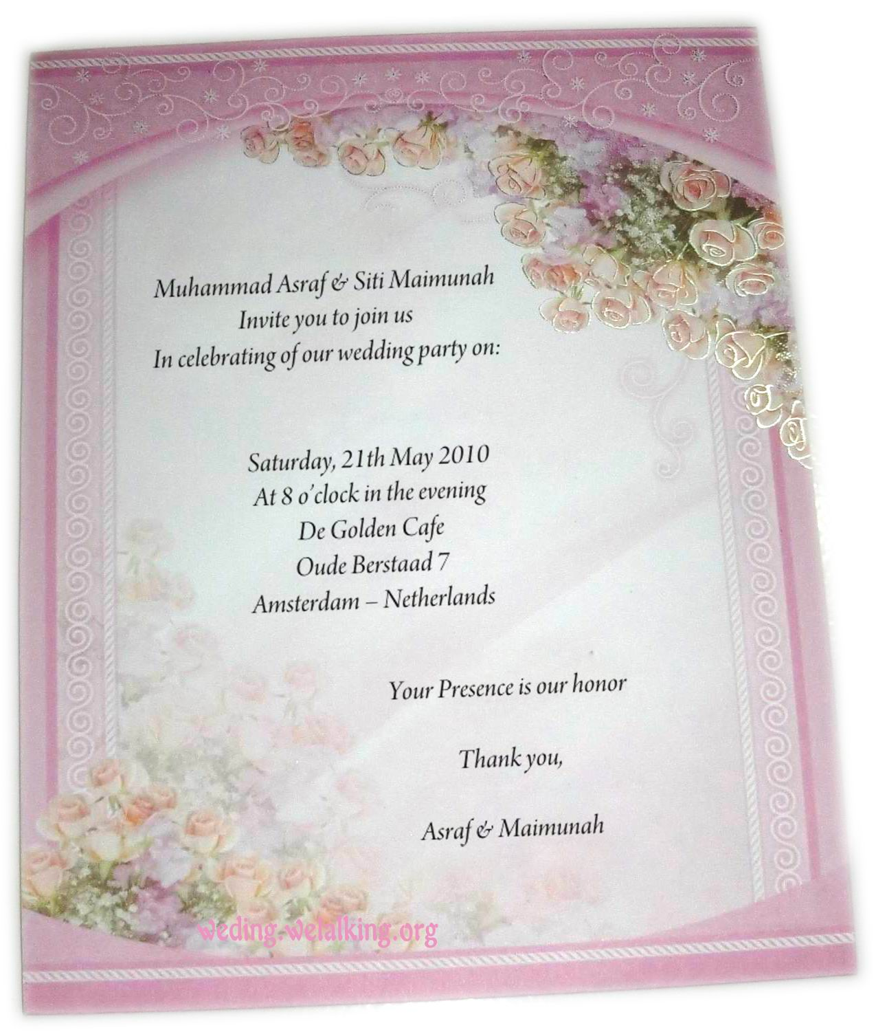 Sample Wedding Invitation Card: Zahra Alya: Expressions Of Invitation And Followed By The