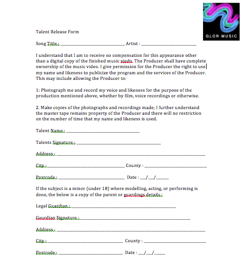 Frankie Media G324 Talent Release Form – Talent Release Form