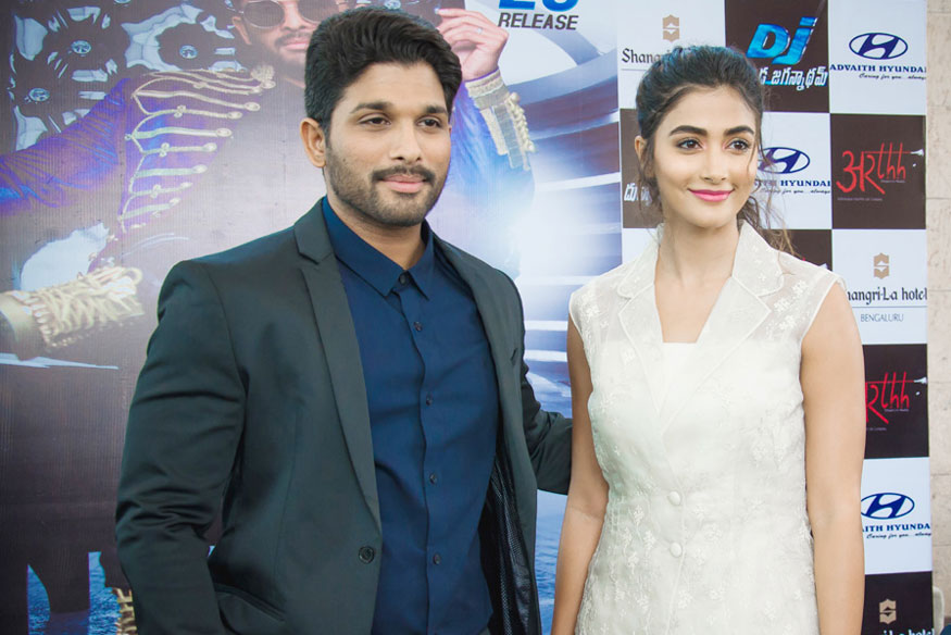 "Pooja Hegde and Allu Arjun Poses During Promotion of Film ""DJ"" In Bengaluru"