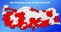 Türkiye de büyükşehir illeri ve belediyeleri gösteren harita
