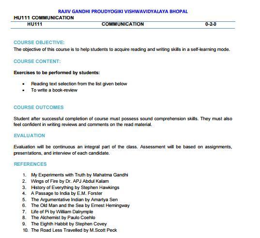 RGPV Communication Syllabus CBCS Scheme for 1st year 1 Sem