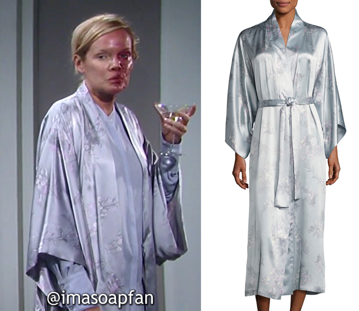 Ava Jerome, Maura West, Blue-Grey Floral Robe, General Hospital, GH