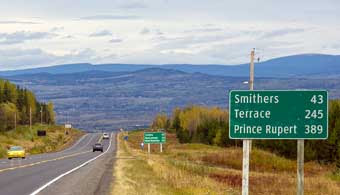 200 km from smithers to terrace