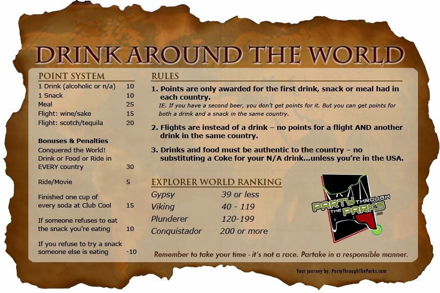 Fun stuff epcot drink around the world game the disney for Food bar drinking game