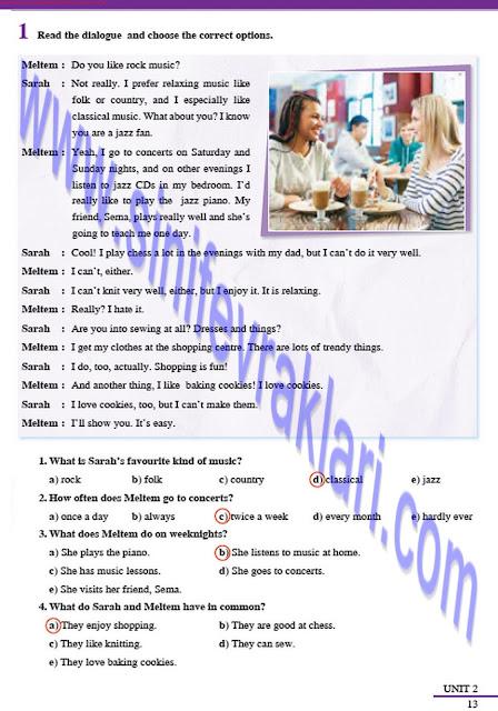 8. Sınıf İngilizce Tutku Yayınları Çalışma Kitabı Cevapları Sayfa 13