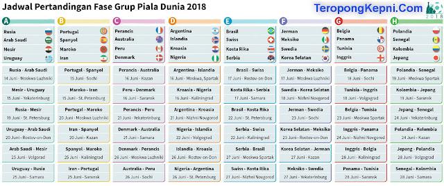 Jadwal Terlengkap Pertandingan Fase Group Piala Dunia 2018