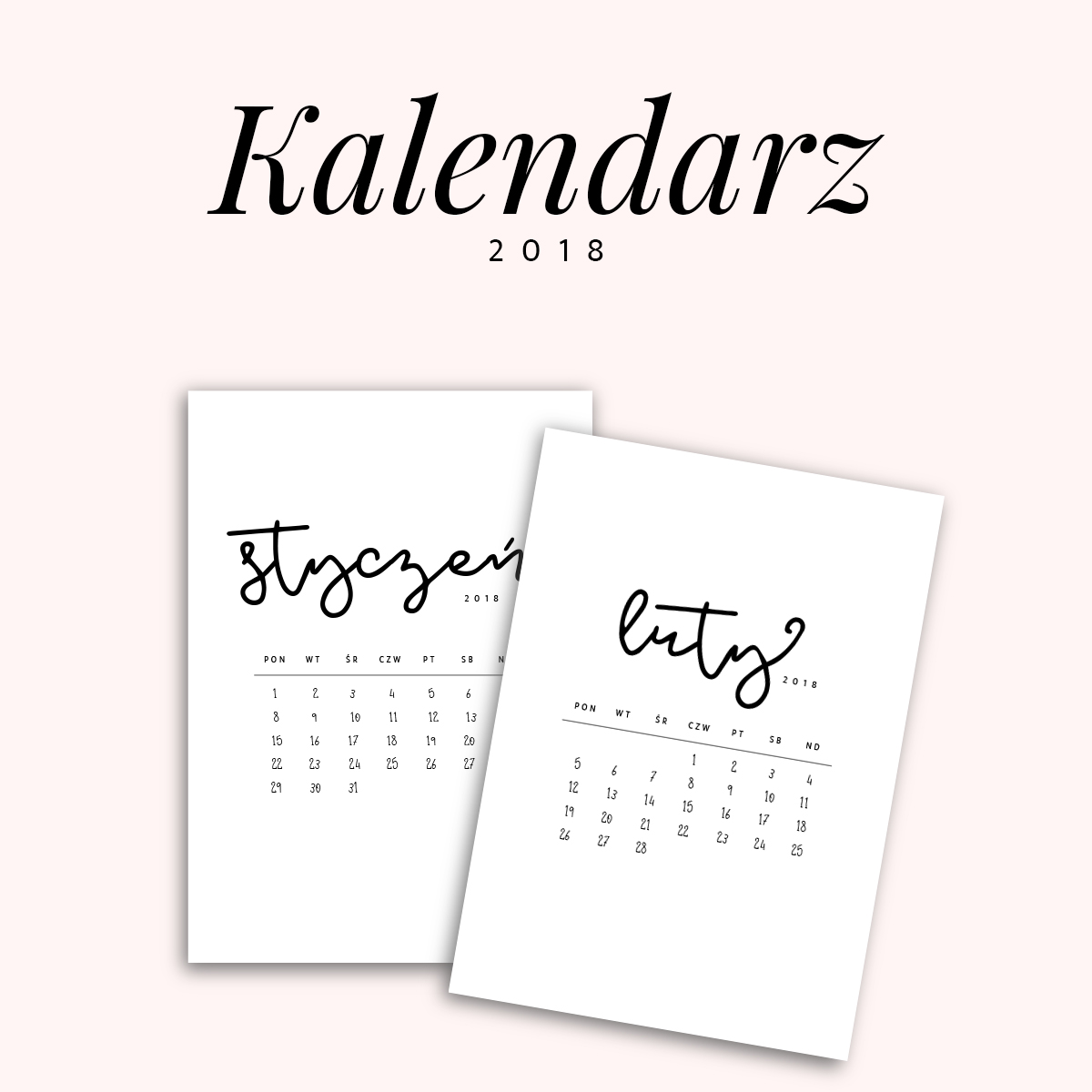 kalendarz 2018 do druku {do pobrania za darmo} black&white