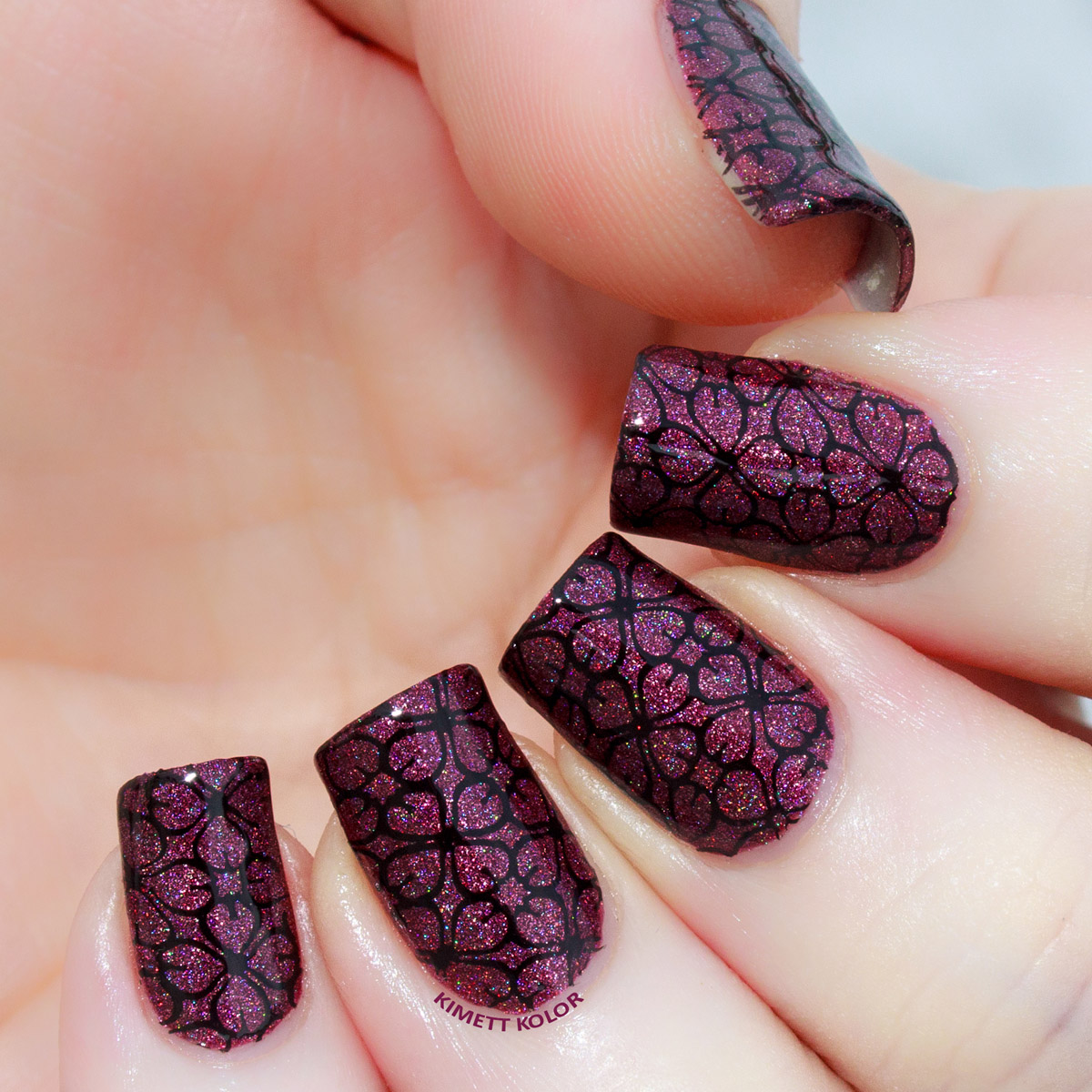 Kimett Kolor Plum Luck Stamped Nail Art