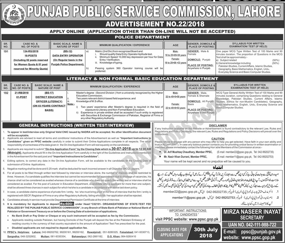 PPSC July 2018 Jobs Advertisement No. 22/2018 for Data Entry Operators,