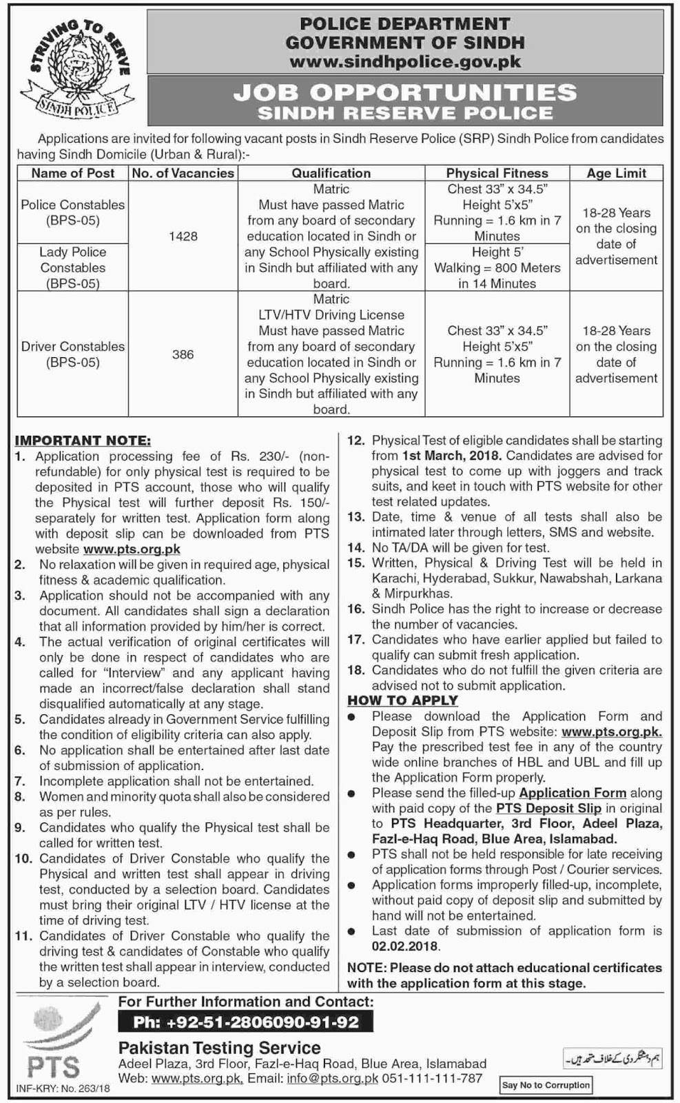 Jobs In Police Department Govt of Sindh Islamabad 2018 - PTS Jobs