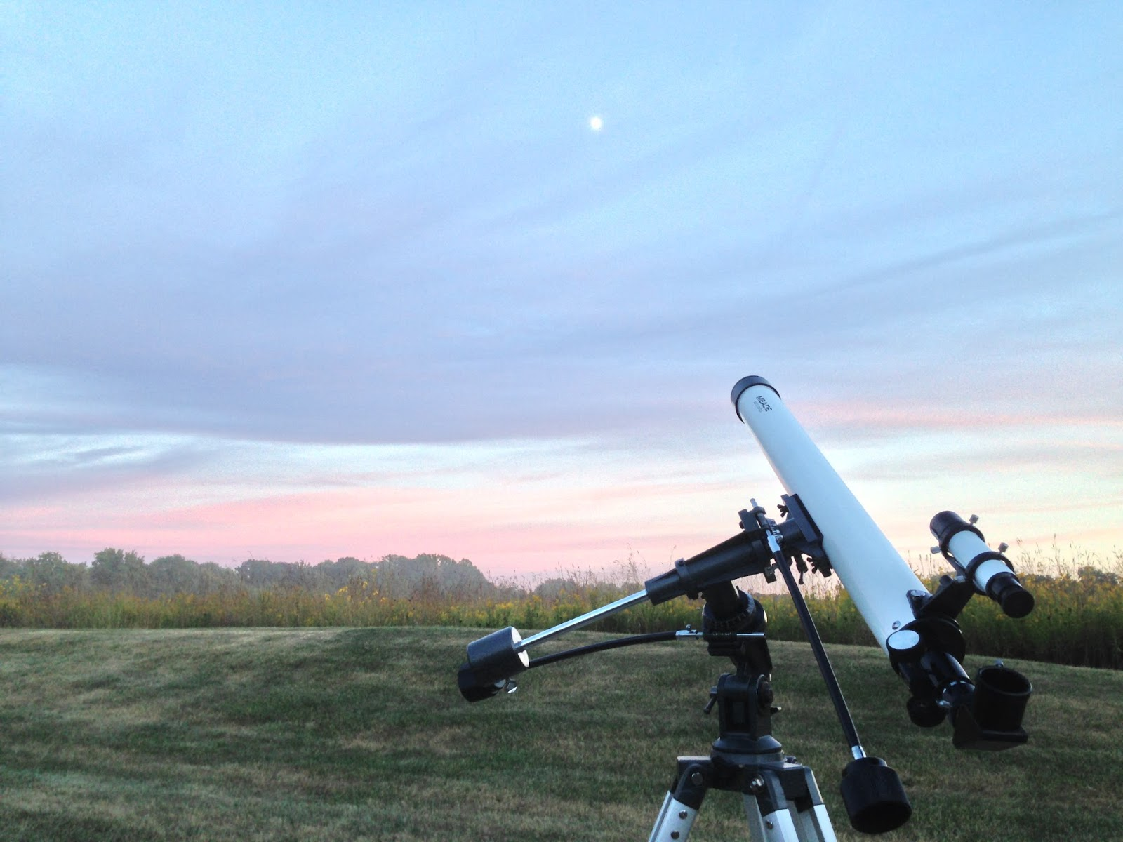 telescope at sunset