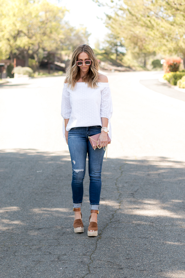 white and denim spring style parlor girl