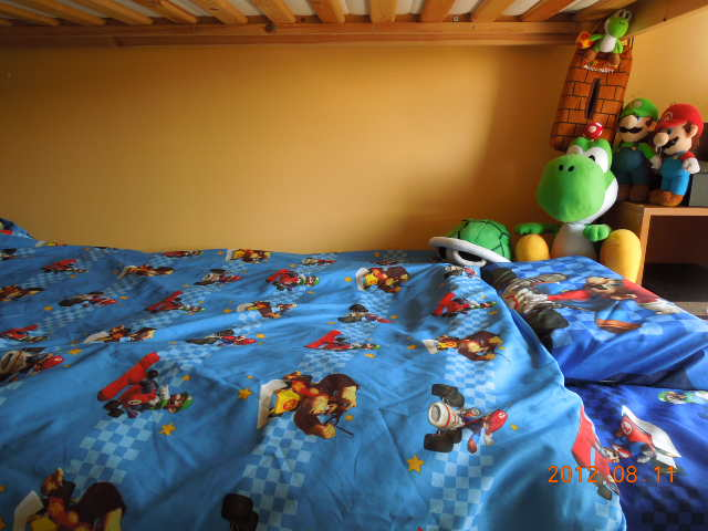 He Looooves Super Mario So We Gave Him The Whole Kart Bedset Completes His Room With Figures Plush Poster Tissue Box Turtle Shells