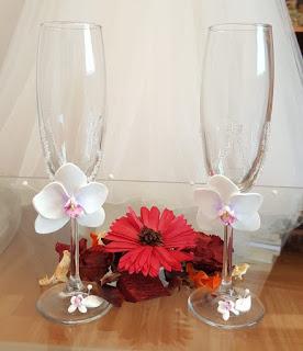Pahare nunta cu orhidee