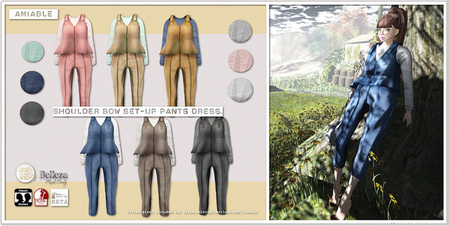 {amiable} Shoulder Bow Set-up Pants Dress@the Shiny Shabby(50%OFF SALE).