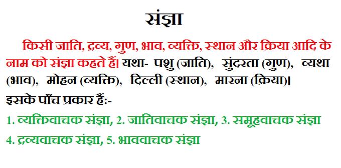 संज्ञा की परिभाषा हिन्दी में !