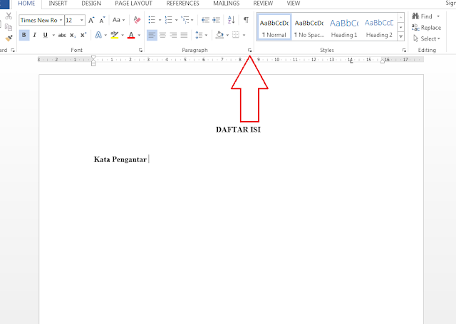cara membuat titik titik daftar isi secara otomatis
