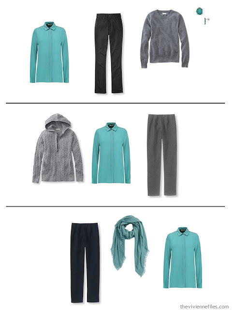 three capsule wardrobe outfits with a jade blouse