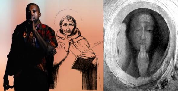 kanye west, monje illuminati y dibujo del dios del silencio
