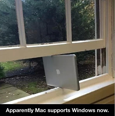 Apple mac as a support for window