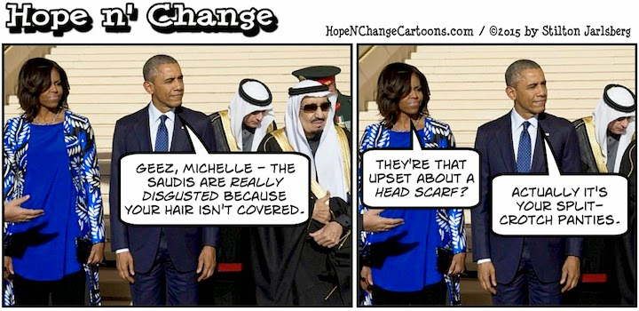 obama, obama jokes, political, humor, cartoon, conservative, hope n' change, hope and change, stilton jarlsberg, saudi arabia, king, hair, hijab