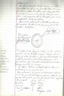 Primera parte del Acta de 10 de Junio de 1934 del Club d'Escacs Lleida