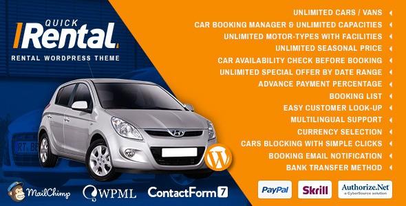 Quick Rental Vehicles Booking WordPress Theme