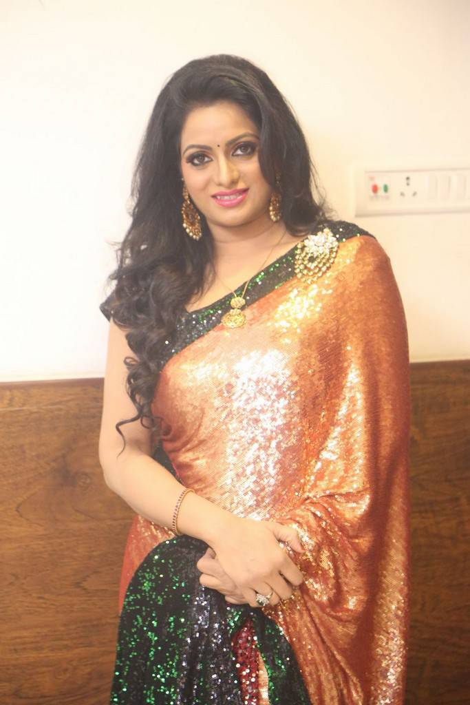 Udaya Bhanu In Red Saree At Gautham Nanda Movie Audio Launch