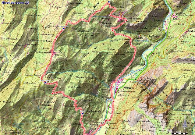 Area Buyera, picos Grandamiana y Plantón: Mapa de la ruta