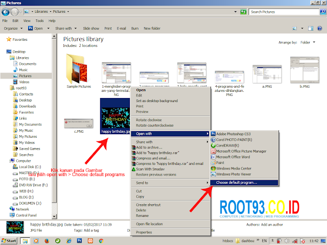 memilih default programs untuk membuka gambar