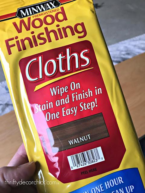 Staining wipes in walnut