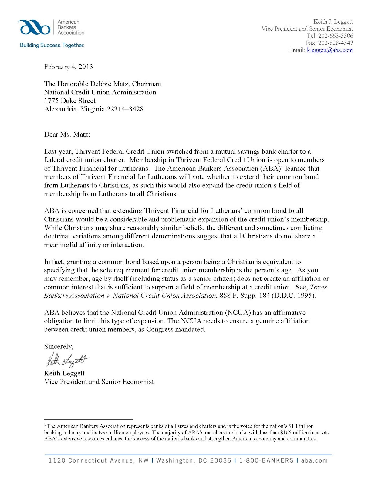 Keith Leggett's Credit Union Watch: Letter to NCUA on ...