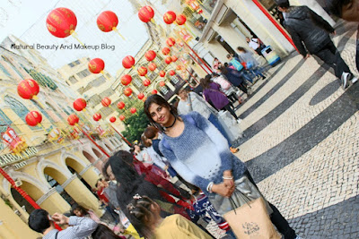 At Largo Do Senado or Senado Square, famous heritage attraction with Chinese New Year decoration & crowds