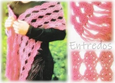 Chal o bufandas tejidas con entredós o uniendo puntillas
