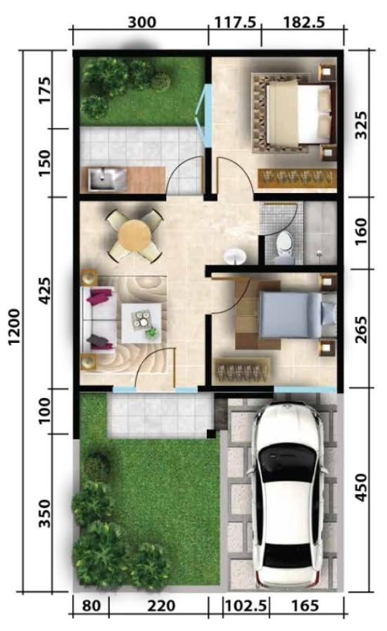 Denah Rumah minimalis Ukuran 6x12 meter 2 kamar tidur 1