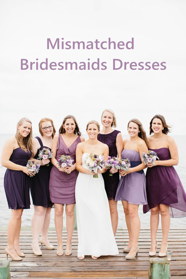 Purple Mismatched Bridesmaids Dresses In Shades Of Colors