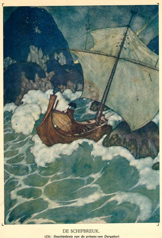 Edmund Dulac The ship struck upon a rock. French, 1882-1953. Oil Upon Troubled Waters. marchmatron.com