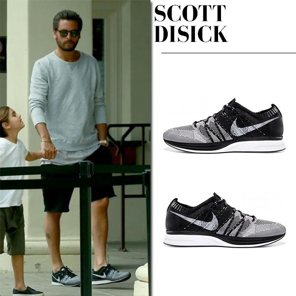 Scott Disick in grey pullover, black shorts and Nike sneakers flyknit trainer mens fashion