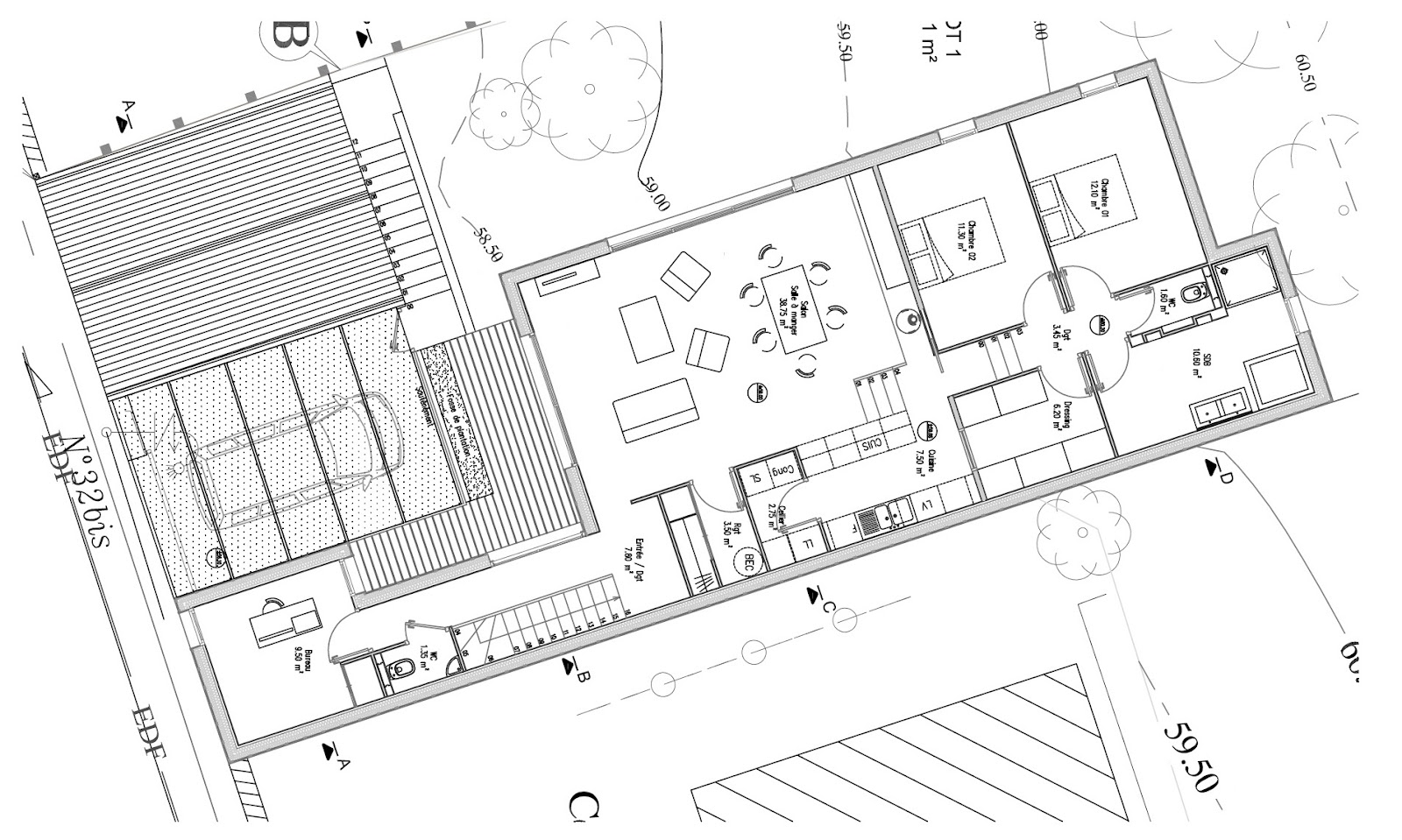plan maison moderne 120m2
