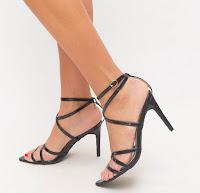 Sandale negru elegante de zi cu toc mediu