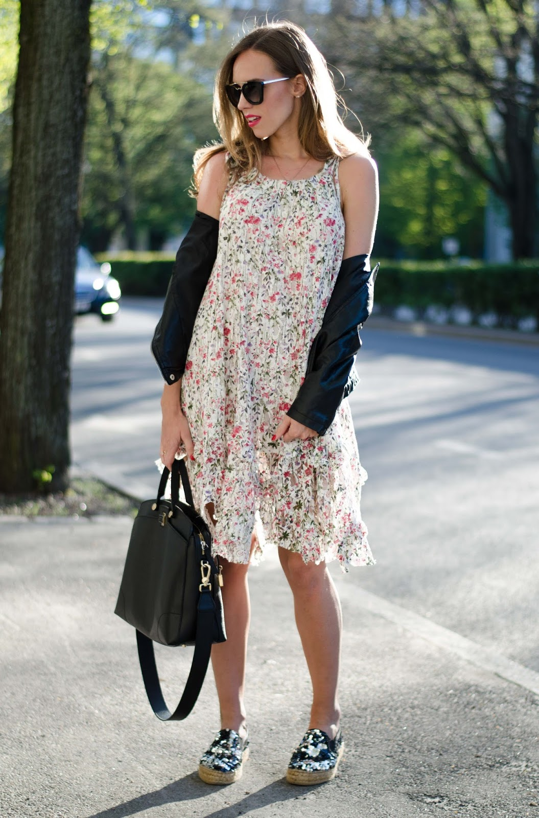kristjaana mere mango floral lace midi day dress spring outfit