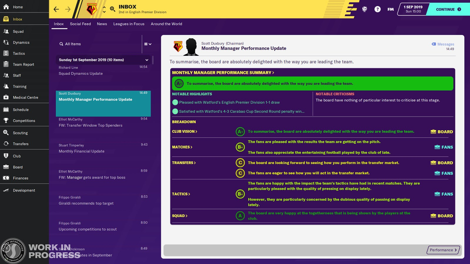 Your monthly performance update in Football Manager 2020