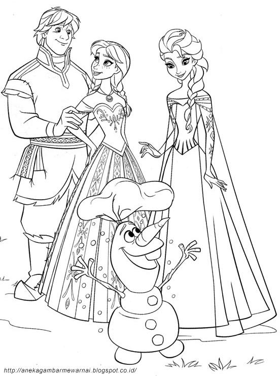 Gambar Mewarnai Frozen Untuk Anak PAUD dan TK