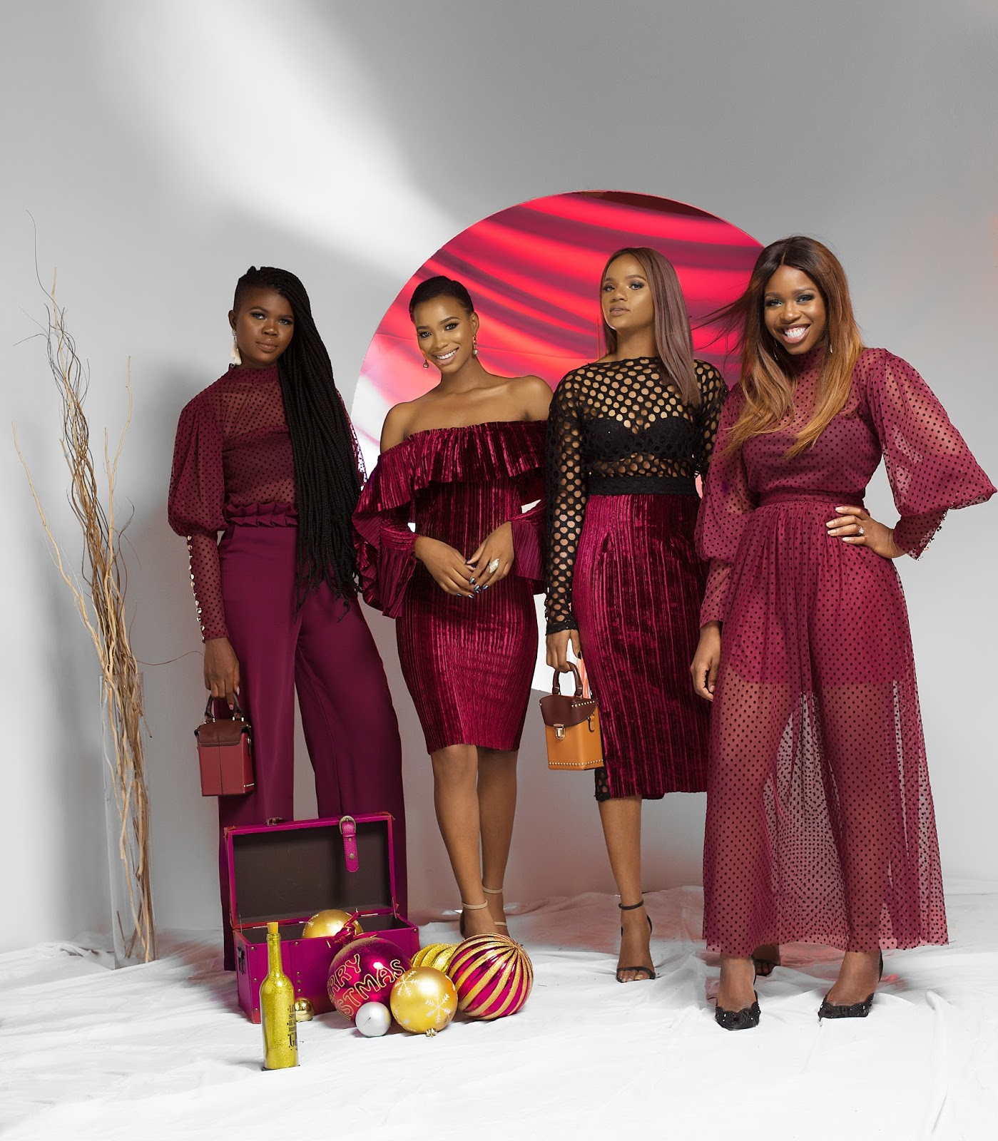 Christmas Day Burgundy Theme Looks
