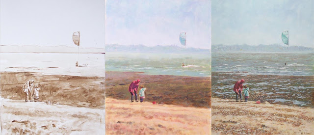 Martin davey work in progress painting Hampshire beach winter